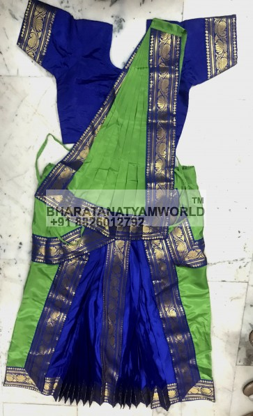 Kuchipudi Readymade Costume Parrot Green And Blue