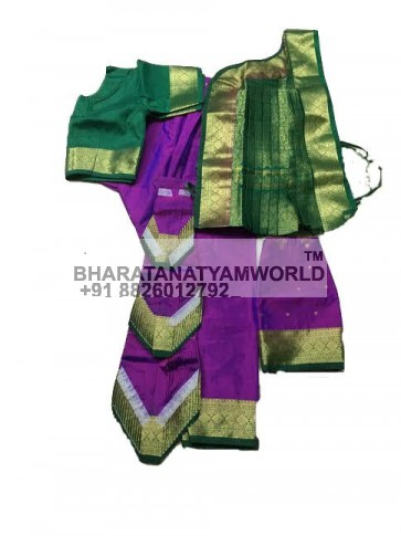 Bharatanatyam Readymade Three Fan Purple And Green Color
