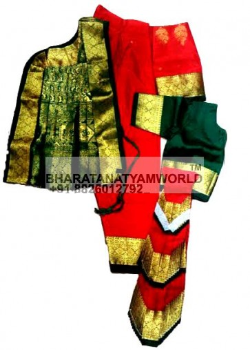 Bharatanatyam Readymade Three Fan Red And Green Color