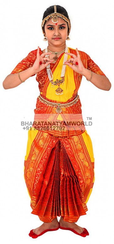 Bharatanatyam Readymade Costume Yellow And Red