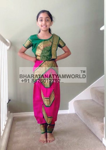 3 Fan 0 Pleats Pure Silk Bharatanatyam Kids Costume D8