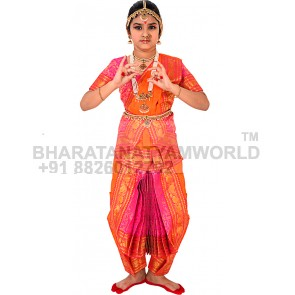 Bharatnatyam Readymade Costume / Dress Orange And Pink