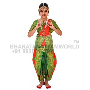 Bharatanatyam Readymade Costume Red And Green