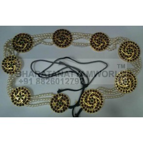 Hair Braid Decor Sun Shaped With Pearl Strings - Temple Jewellery C1