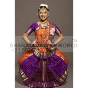 2 Fan 0 Pleats Art Silk Bharatanatyam Costume