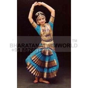 3 Fan 0 Pleats Pure Silk Bharatanatyam Costume D2