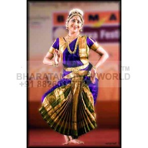 1 Fan Pure Silk Bharatanatyam Costume
