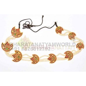 Hair Braid Decor Moon Style With Pearl Strings  - Temple Jewellery