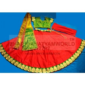 Kathak Readymade Costume - Red & Green