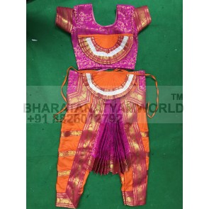 Bharatnatyam Readymade Chest Fan  Costume / Dress Orange And Pink