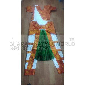 Bharatanatyam Readymade Tiranga Costume White And Orange And Green