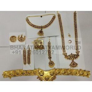 Diamond Studded Bharatanatyam Temple Jewellery