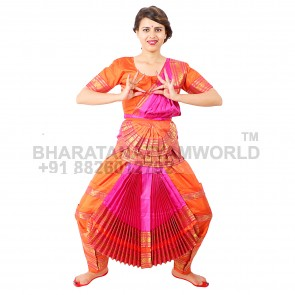 Bharatanatyam Readymade Costume Orange And Pink