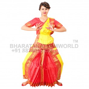 Kuchipudi Readymade Costume Yellow And Red