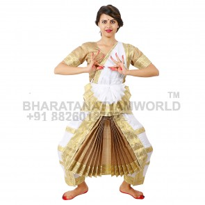 Bharatanatyam Readymade Costume White And Golden