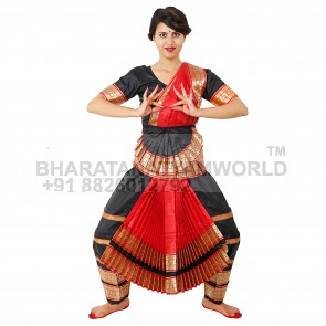 Bharatanatyam Readymade Costume Black And Red