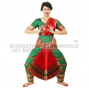 Bharatanatyam Readymade Costume Green And Red
