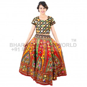 Ghoomar D3 Cotton Readymade Gujarati Cotton lehenga adult size , free size