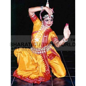 PURE SILK Odissi Dance Costume Side Fan