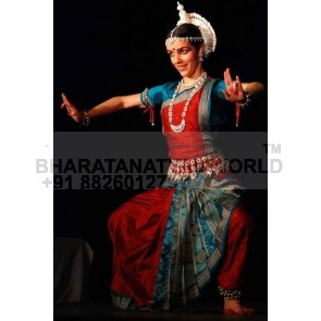 PURE SILK SAREE - Odissi Dance costume - Cross Fan