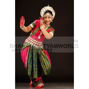 PURE SILK Saree Odissi Dance Costume Striaght Fan