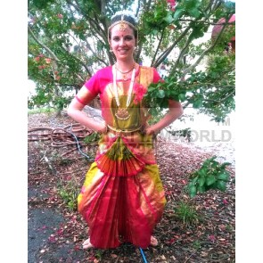 2 Fan 3 Pleats Artificial Silk Bharatnatyam Costume